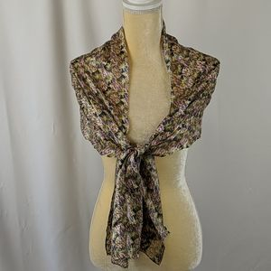 Vintage Purple tan and navy mosaic pattern scarf